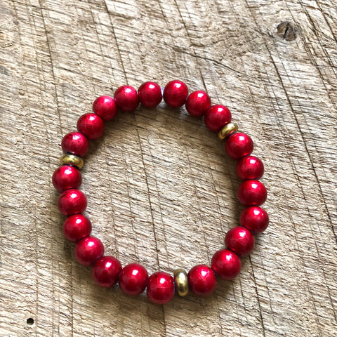 Red and Gold Bead Bracelet