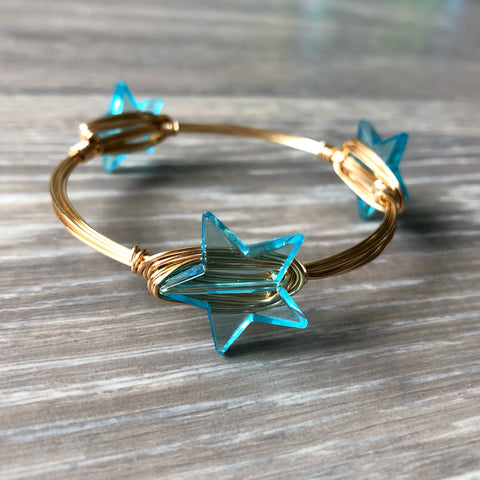 Blue Star Bead Bangle