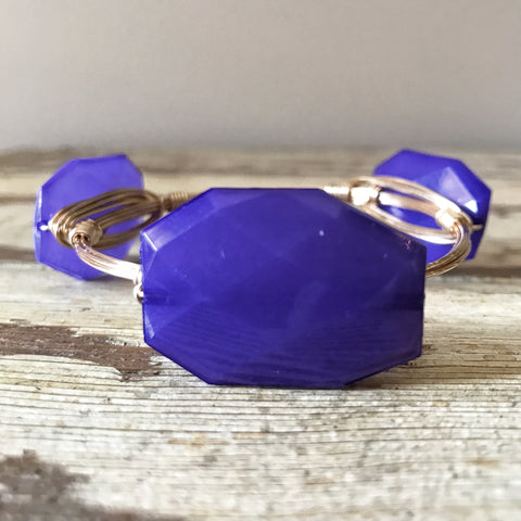 Hyacinth Purple Bead Wire Wrap Bangle