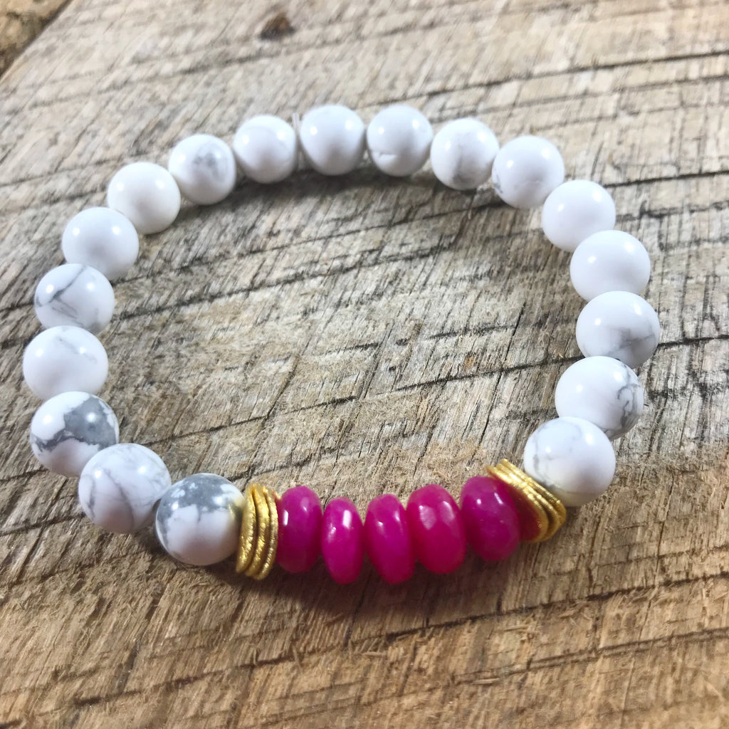 Pink and White Howlite Bracelet