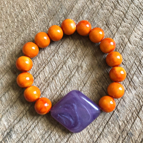 Purple and Orange Beaded Bracelet