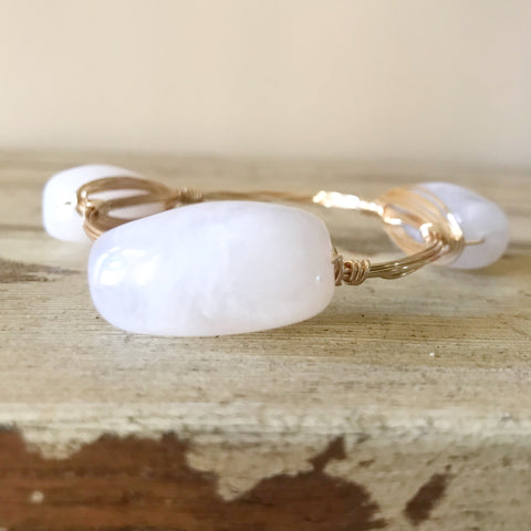 White Acrylic Bead Bangle