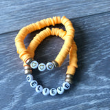 Orange Vinyl Heart Bead Bracelet