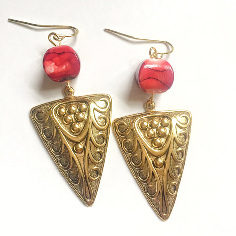 Red and Gold Triangle Earrings