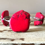 Red jasper slab wire wrap bracelet