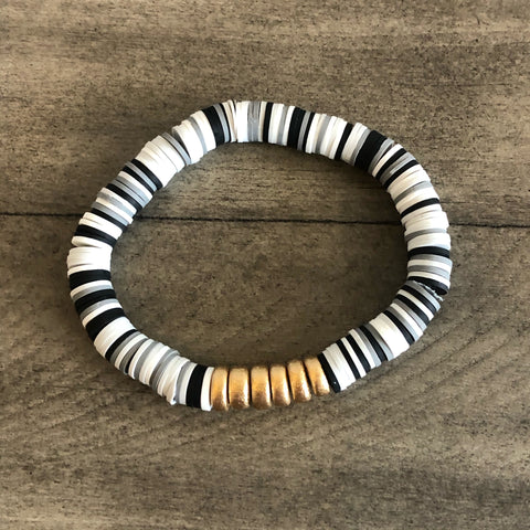 Black, White, and Gray Vinyl Heishi Bracelet