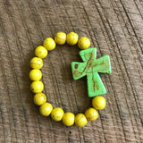 Green and Yellow Cross Stretch Bracelet