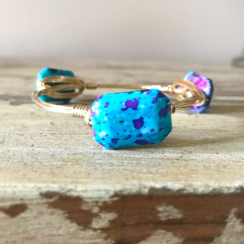 Light Blue Speckled Wire Wrap Bangle