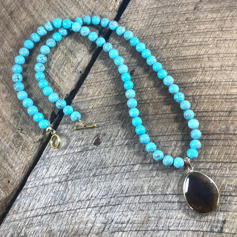 Turquoise and Brown Crystal Necklace