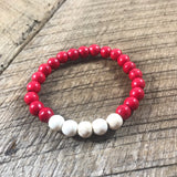Red and White Beaded Bracelet