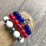 Red, White and Blue Bracelet Stack