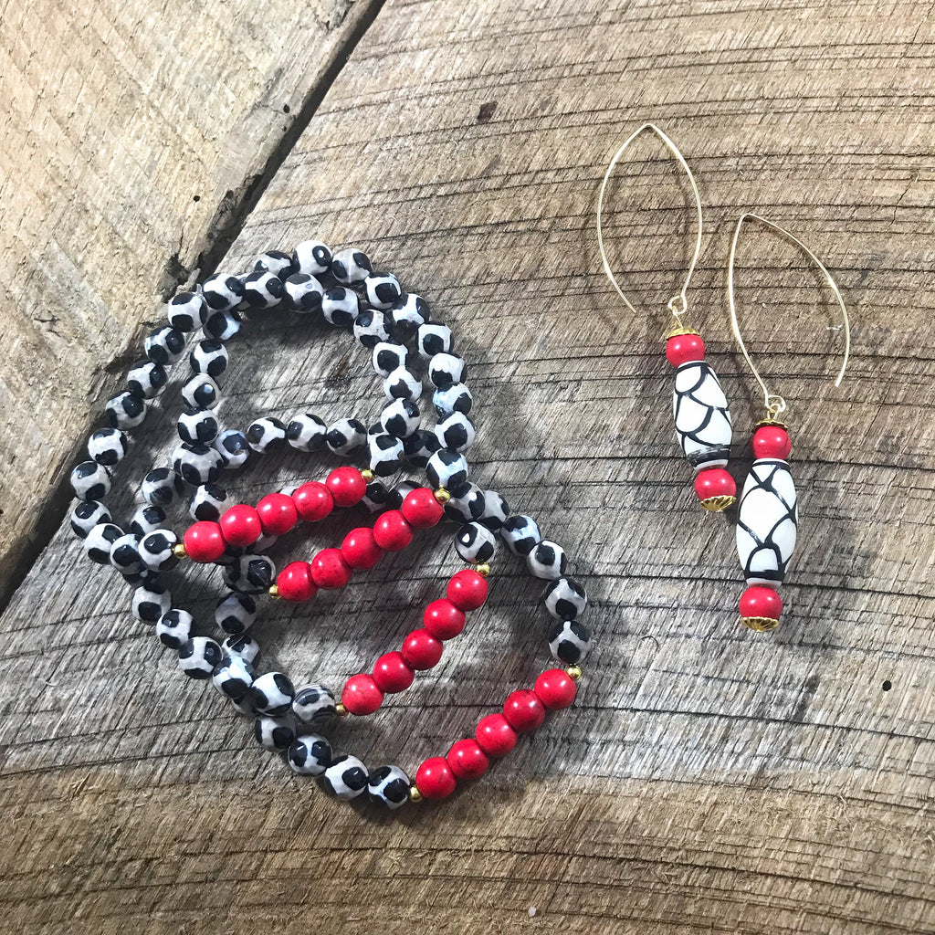 Red, White, and Black Beaded Bracelet