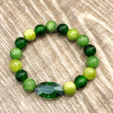 Green Crystal Beaded Bracelet