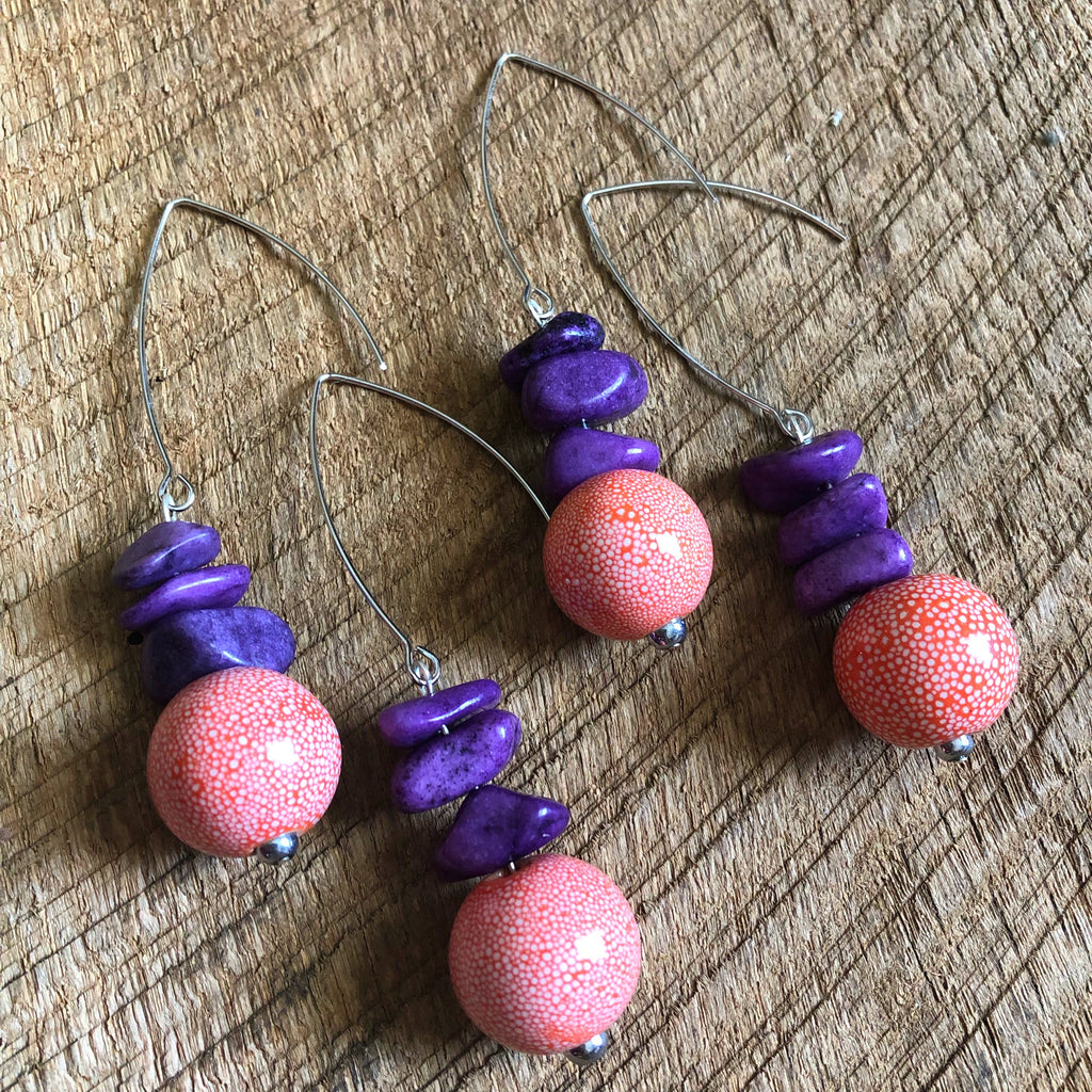 Purple and Orange Beaded Earrings