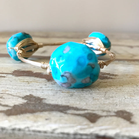 Turquoise Bead Wire Bangle