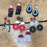 Red, Black, and White Earrings