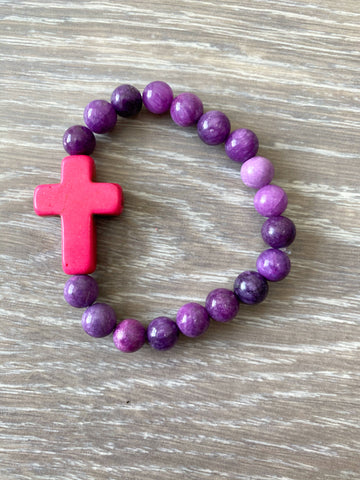 Purple and Pink Cross Bracelet