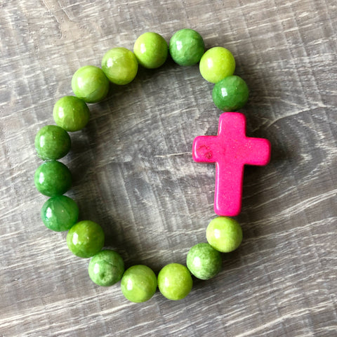 Pink and Green Cross Bracelet