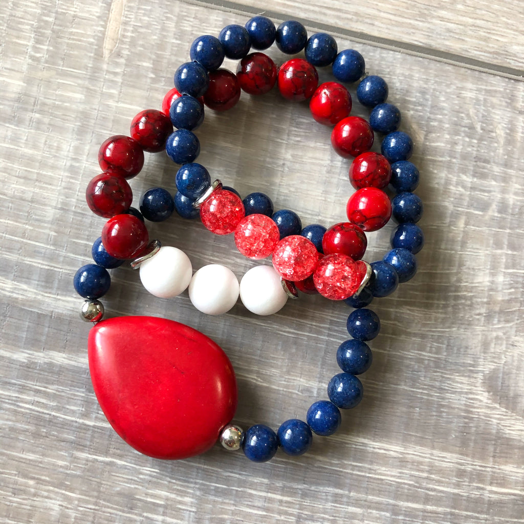 Navy and Red Beaded Bracelet