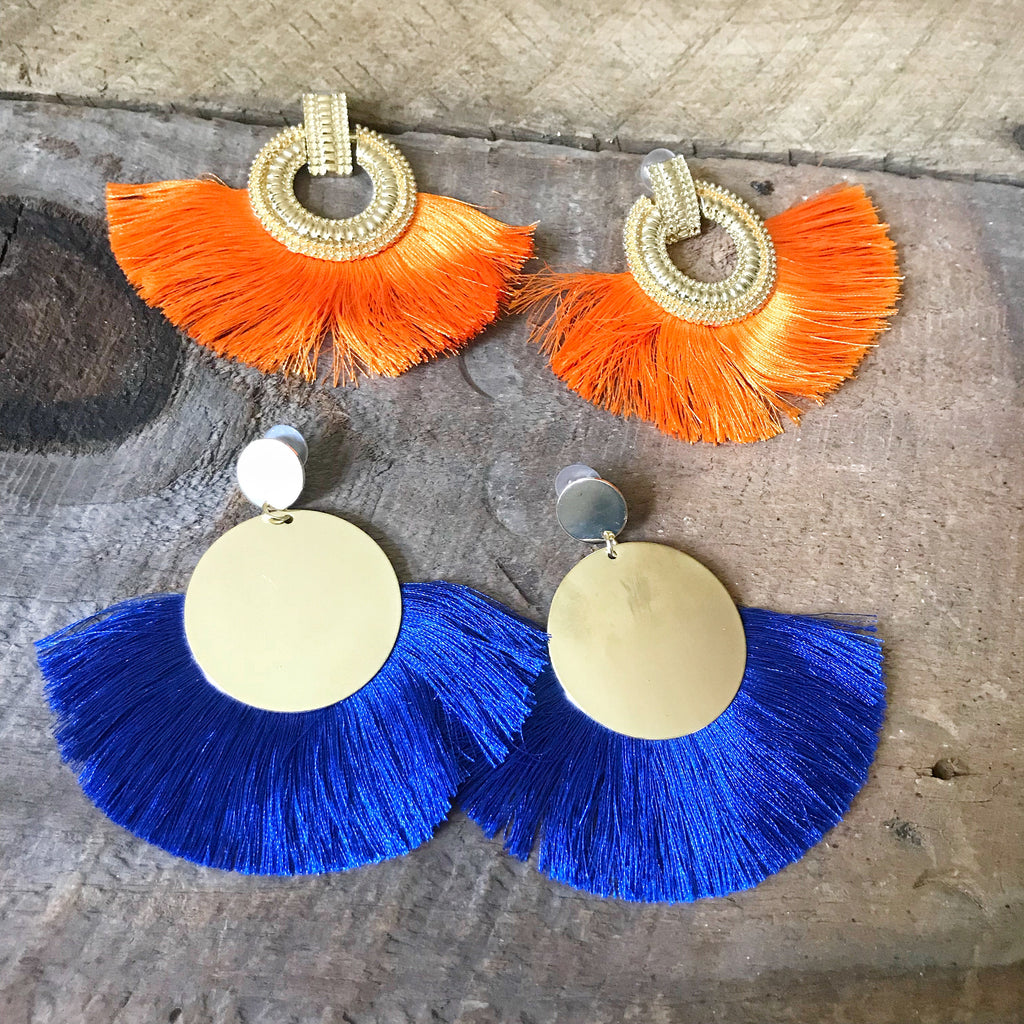 Blue Fringe Tassel Earrings