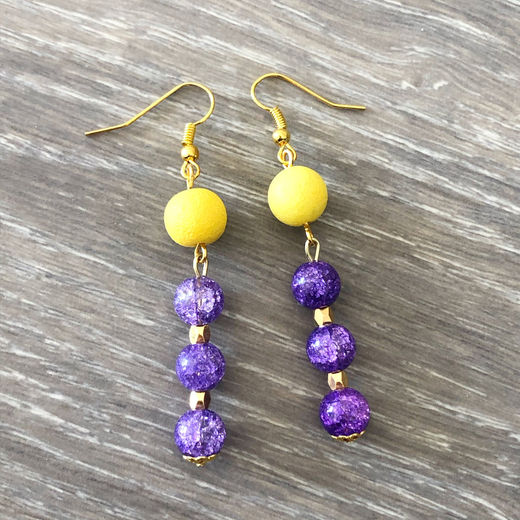 Purple and Yellow Beaded Earrings