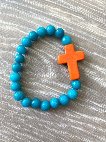 Turquoise and Orange Cross Bracelet