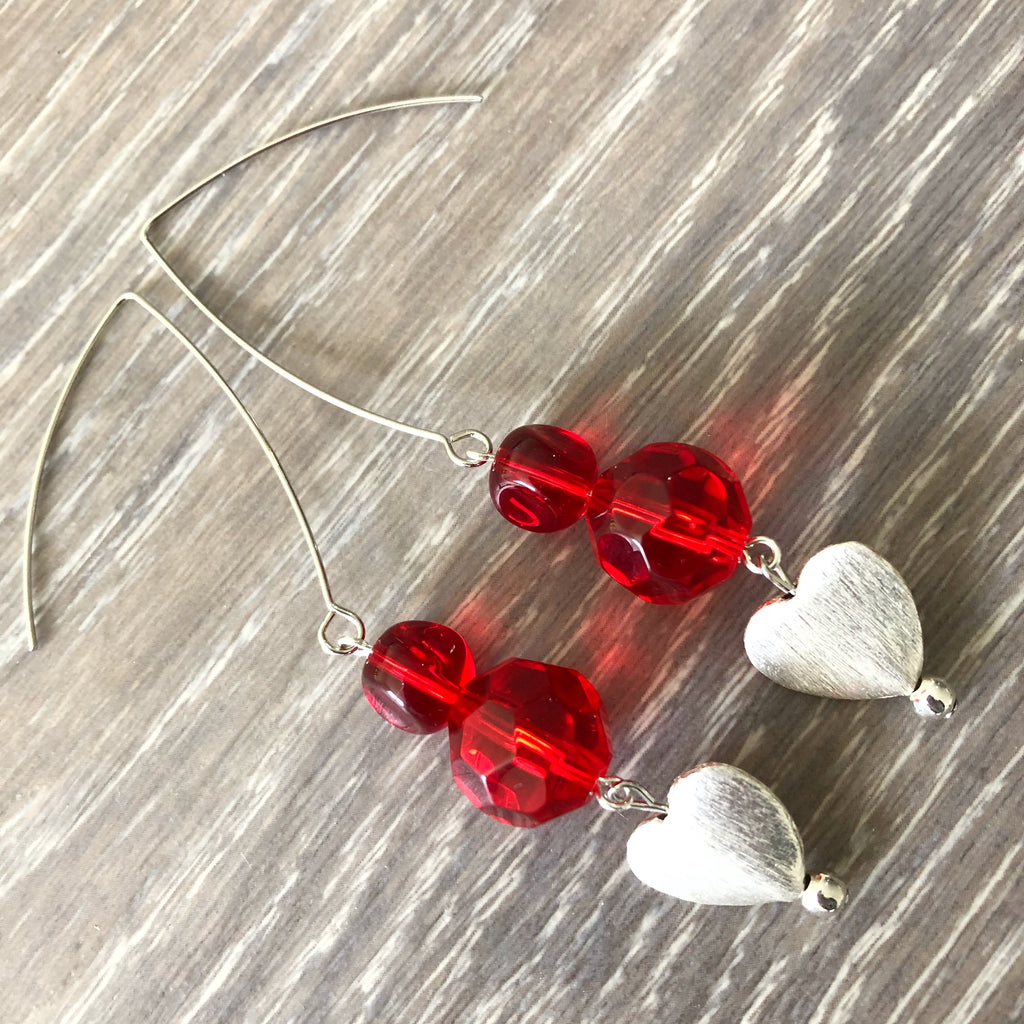 Red and Silver Heart Earrings