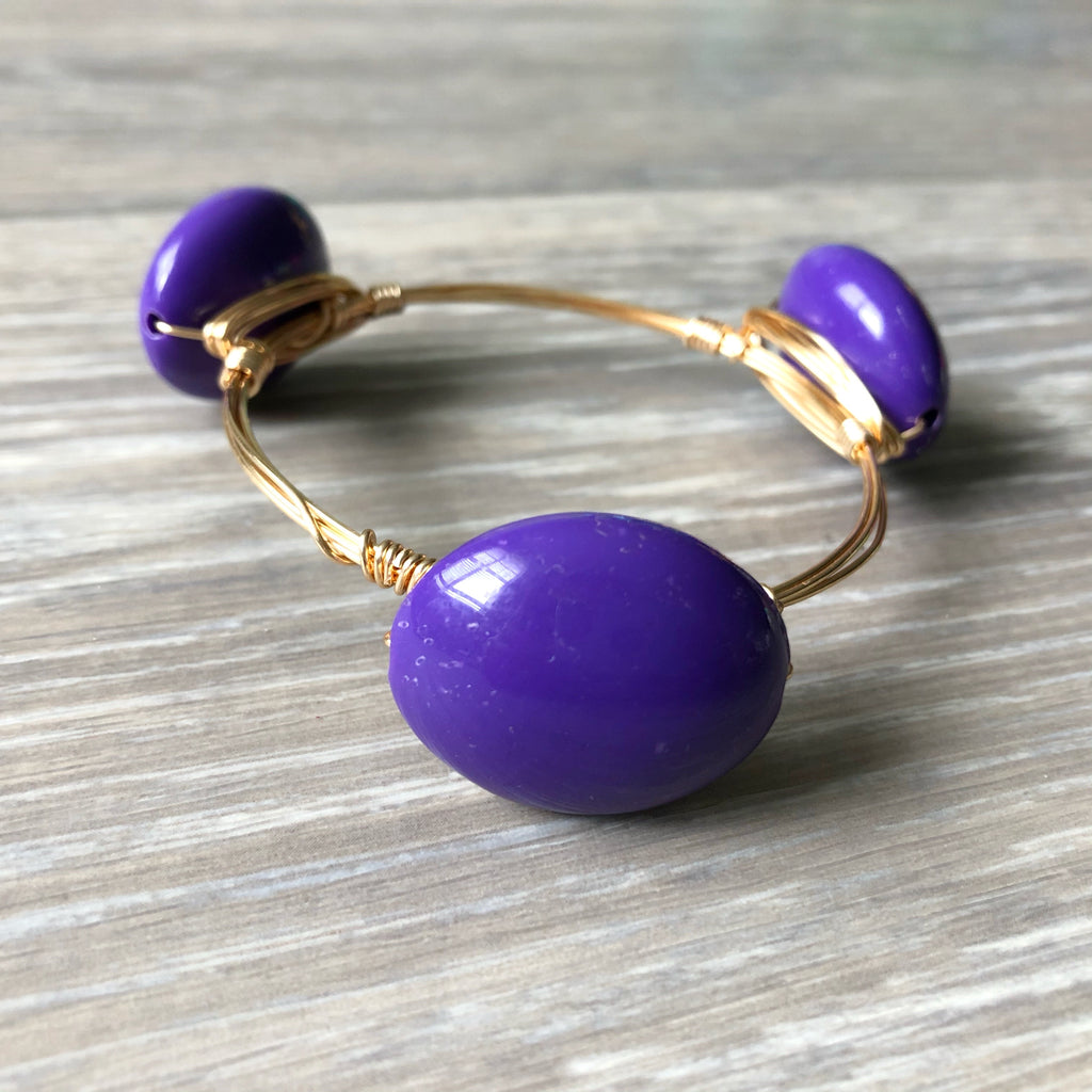 Purple Acrylic Bead Bangle
