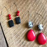 Red, White, and Black Statement Earrings