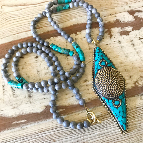 Grey and Turquoise Beaded Necklace