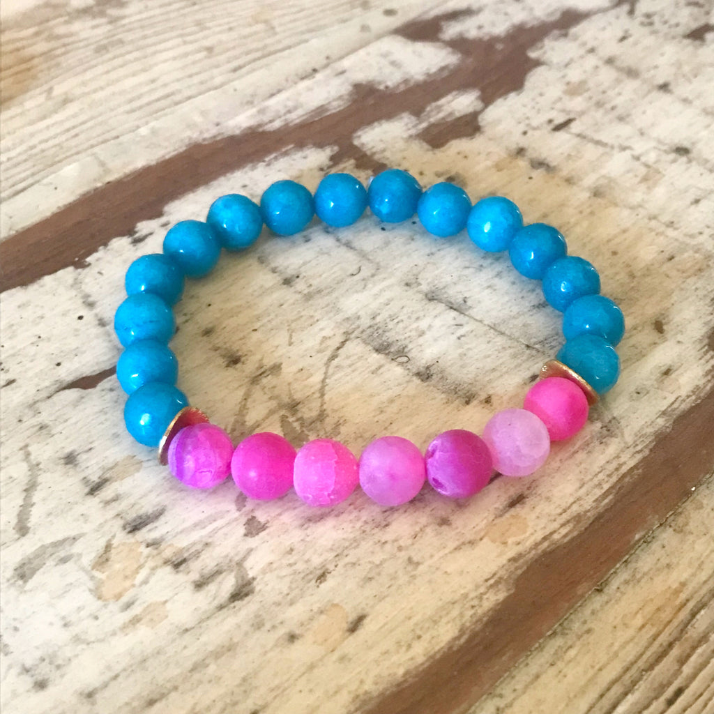 Pink and Turquoise Agate Bracelet