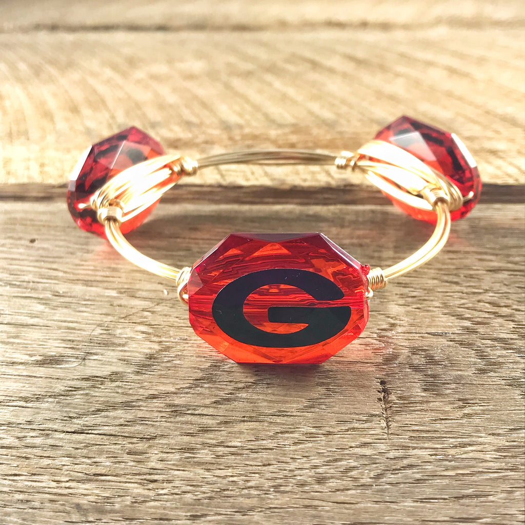 Red Crystal Georgia 'G' Bangle