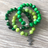 Green and Silver Beaded Bracelet