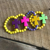 Purple and Yellow Cross Bead Bracelet