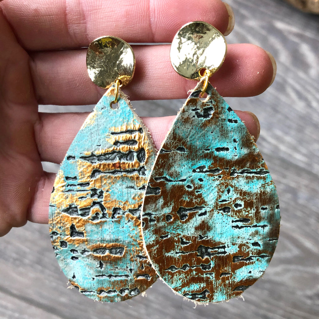 Gold and Turquoise Embossed Leather Earrings