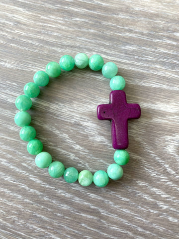Mint and Purple Cross Bracelet