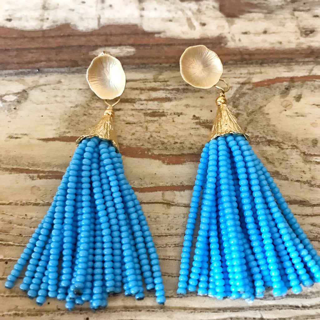 Blue Beaded Tassel Earrings