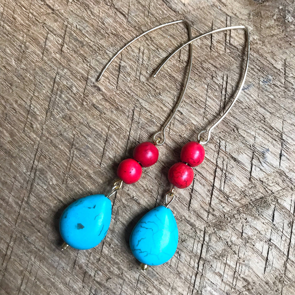 Turquoise and Red Bead Earrings