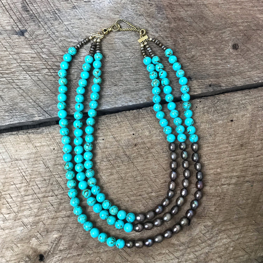 Turquoise and Pearl Multistrand Necklace