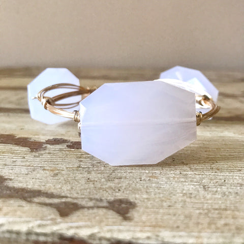 White Acrylic Wire Wrap Bangle