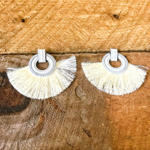 White Fringe Tassel Earrings