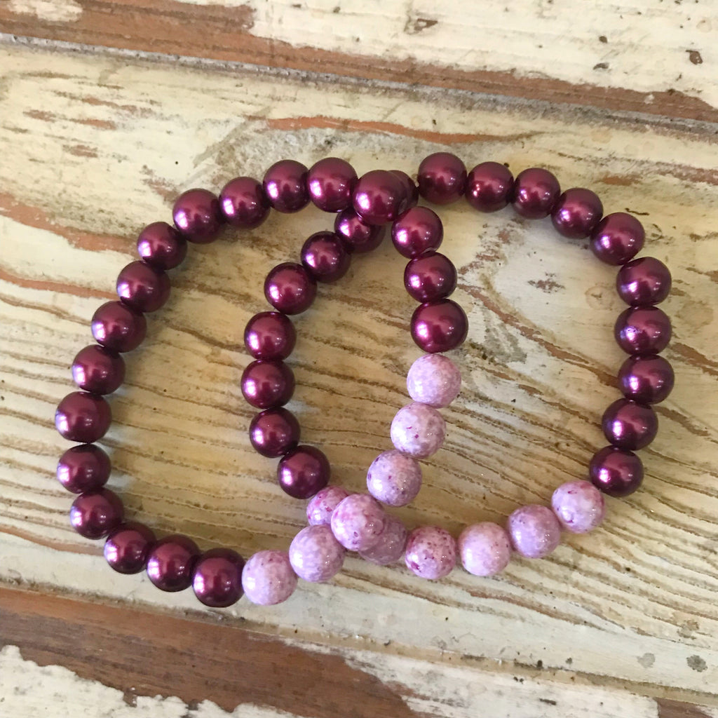 Burgundy Pearl and Amethyst Bracelet