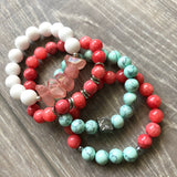 Coral and Mint Beaded Bracelet