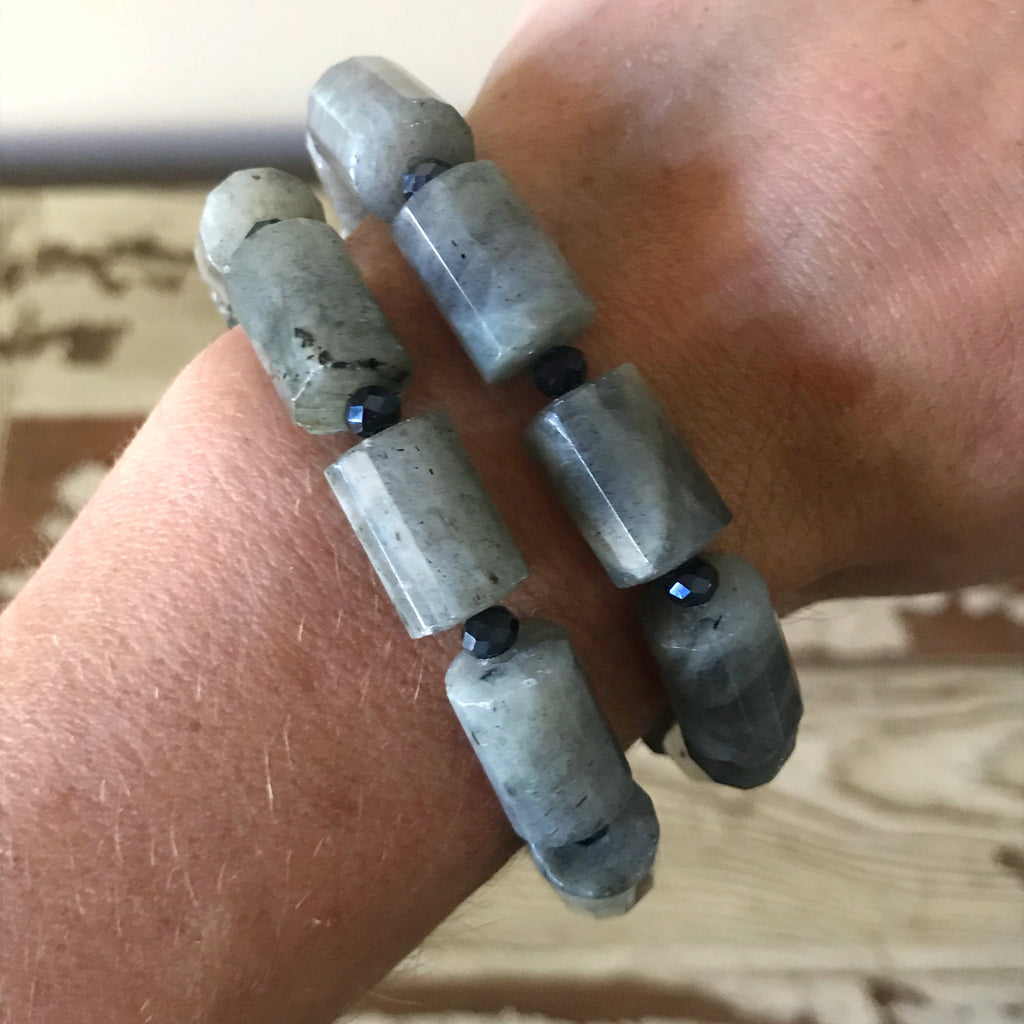 Labradorite Barrel Beaded Bracelet