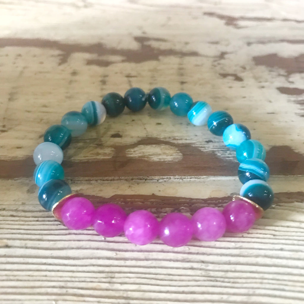 Pink and Teal Beaded Bracelet