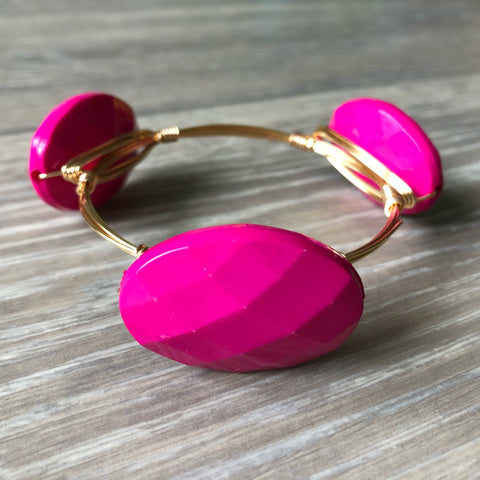 Pink Acrylic Bead Bangle
