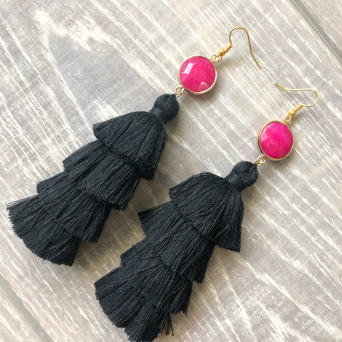 Fuchsia and Black Tassel Earrings