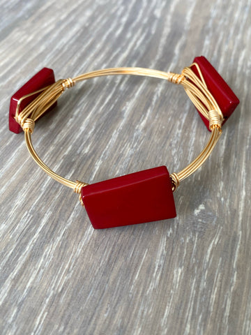 Burgundy Bead Bangle