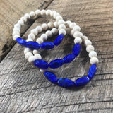 White and Blue Beaded Bracelet