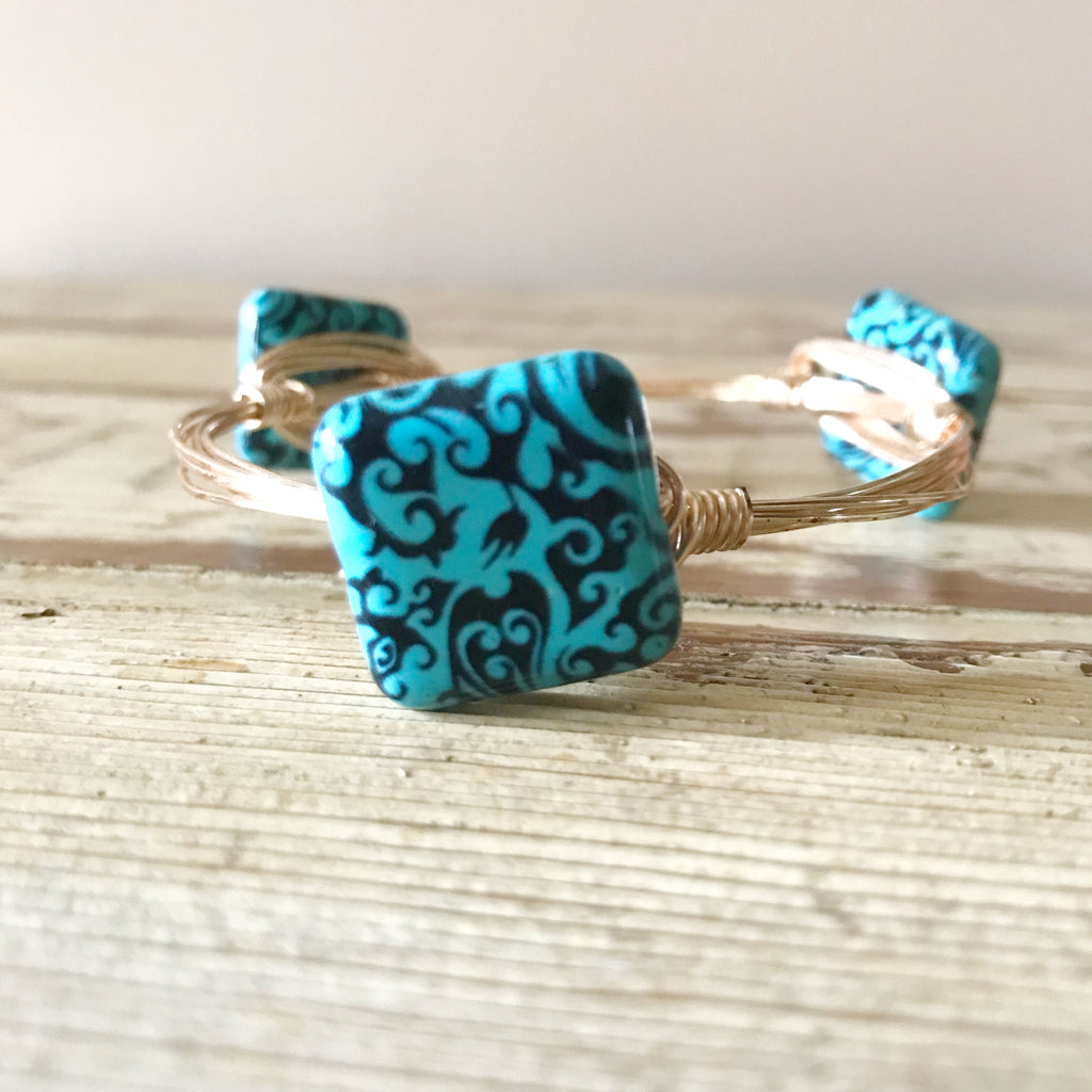 Turquoise and Black Square Wire Wrap Bangle